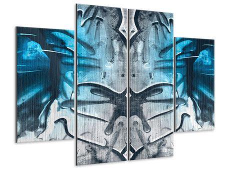 Metallic-Bild 4-teilig Painting On The Wall