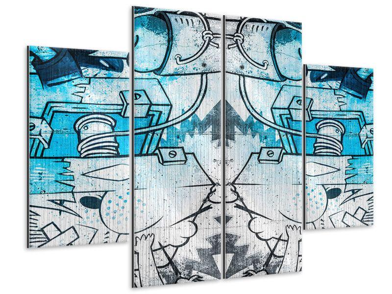 Metallic-Bild 4-teilig Graffiti