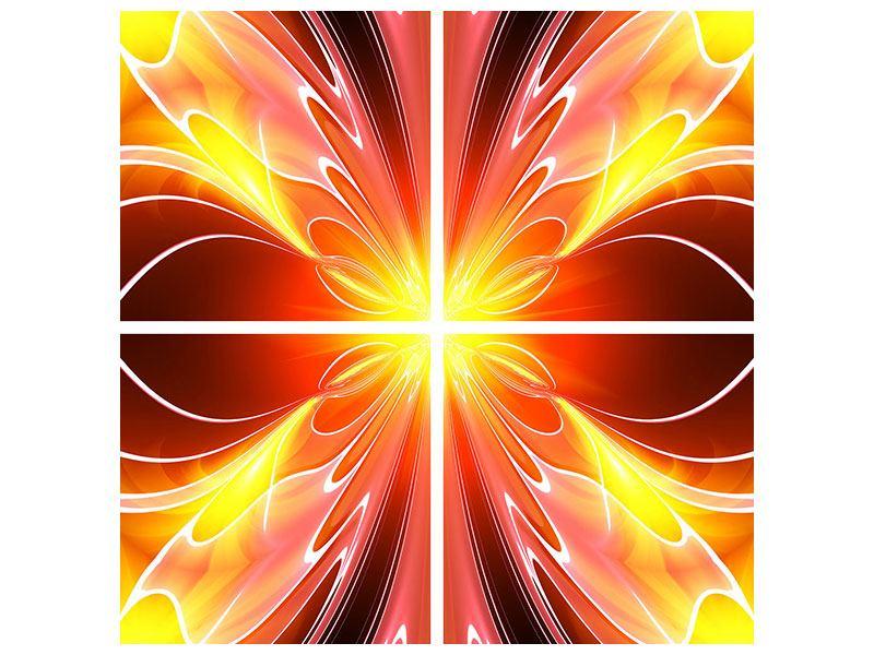 Metallic-Bild 4-teilig Abstraktes Farbenspektakel