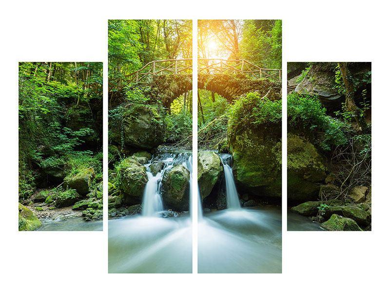 Metallic-Bild 4-teilig Wasserspiegelungen