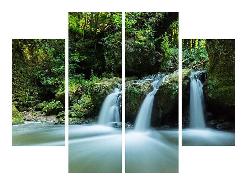 Metallic-Bild 4-teilig Fallendes Wasser