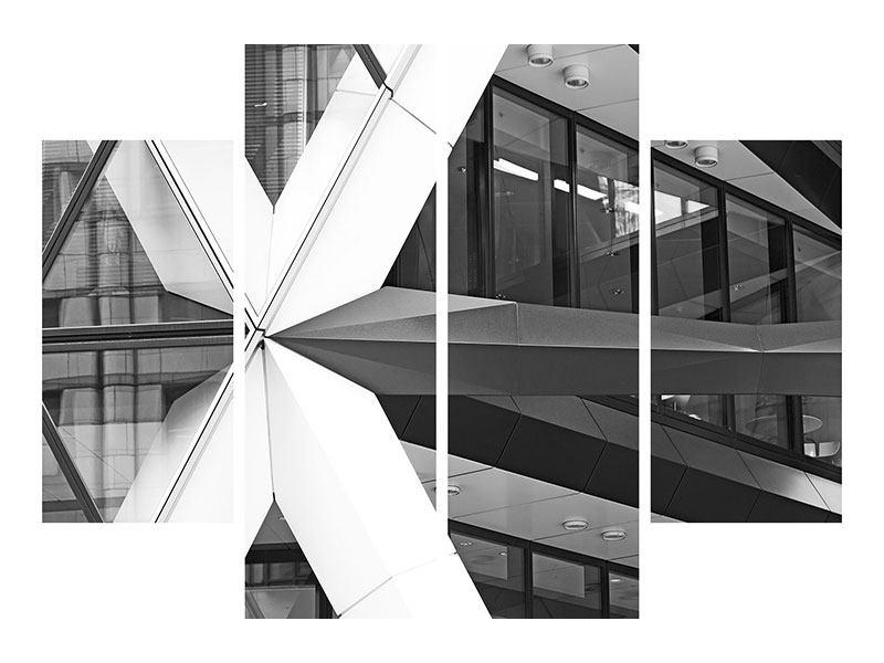Metallic-Bild 4-teilig Teil eines Wolkenkratzers