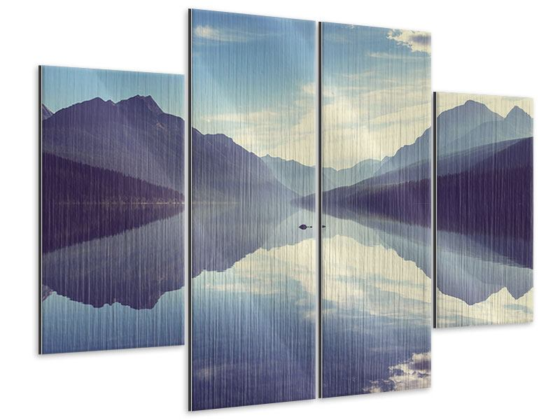 Metallic-Bild 4-teilig Bergspiegelung