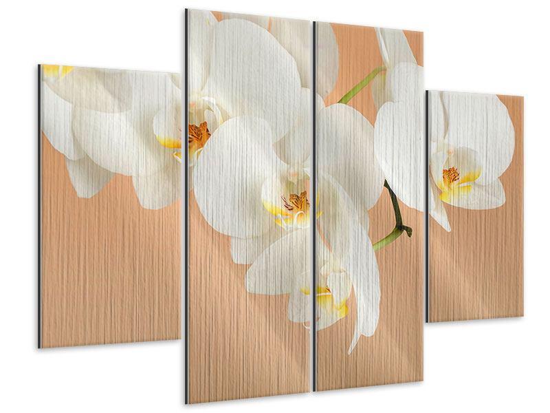 Metallic-Bild 4-teilig Weisse Orchideenblüten