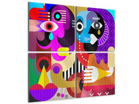 Metallic-Bild 4-teilig Moderne Kunst People