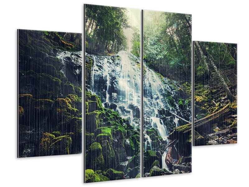 Metallic-Bild 4-teilig Feng Shui & Wasserfall