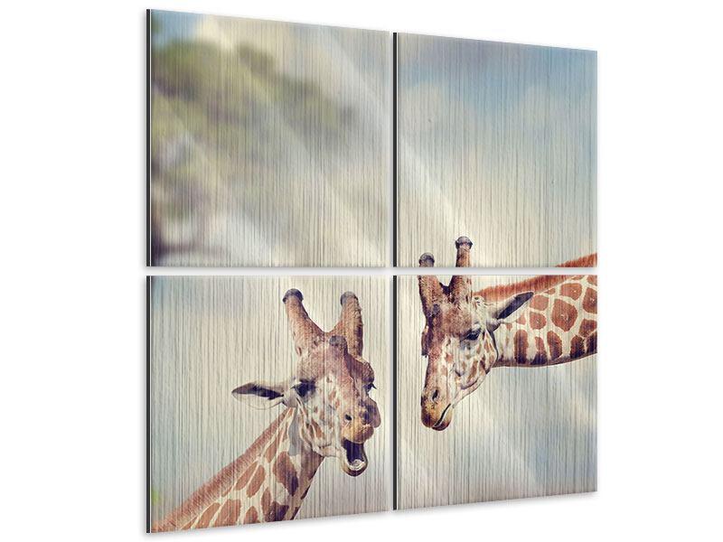 Metallic-Bild 4-teilig Giraffen