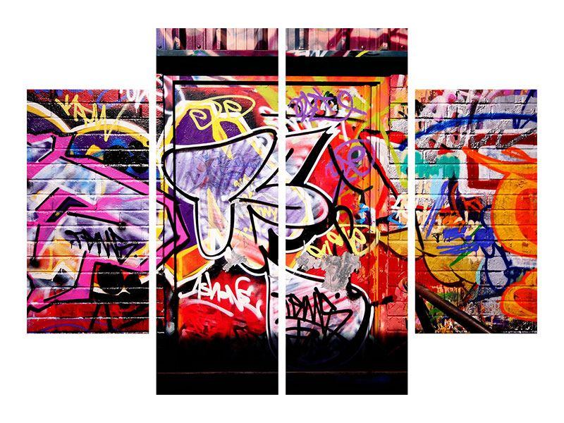 Metallic-Bild 4-teilig Graffiti Kunst