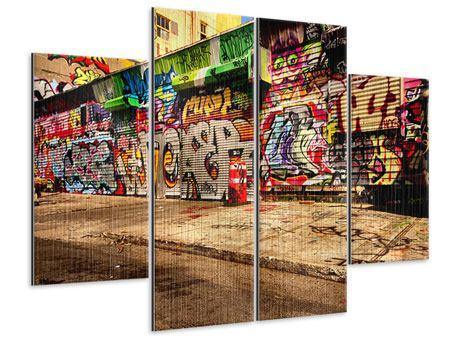 Metallic-Bild 4-teilig NY Graffiti