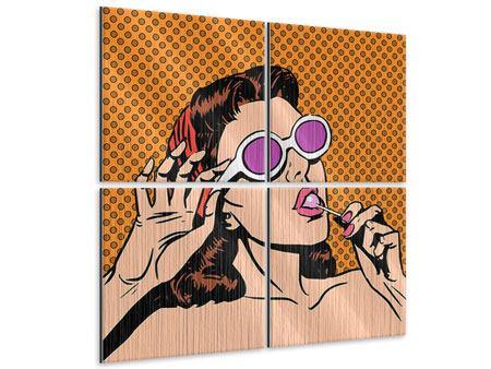 Metallic-Bild 4-teilig Pop Art Lollipop