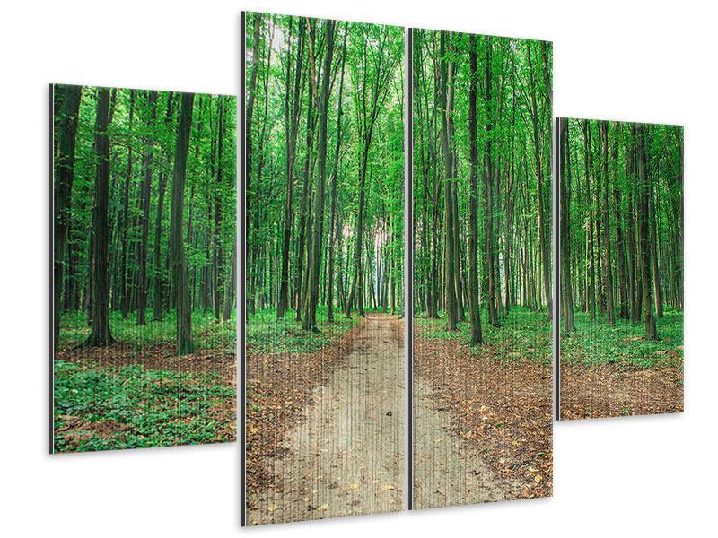 Metallic-Bild 4-teilig Tannenwald