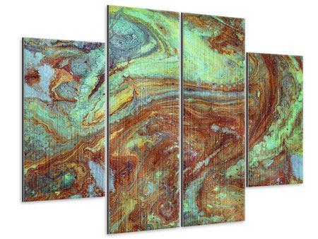 Metallic-Bild 4-teilig Marmor in Grün