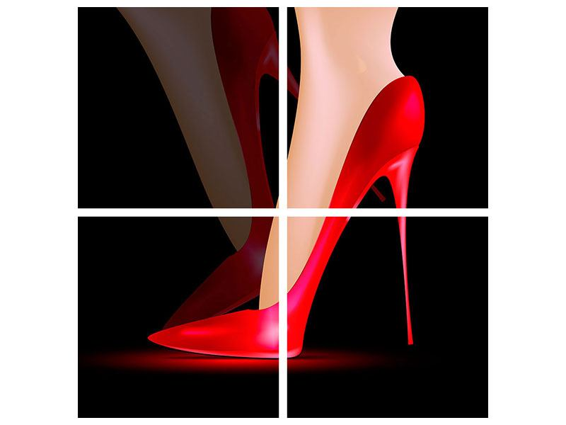 Metallic-Bild 4-teilig Der rote High Heel