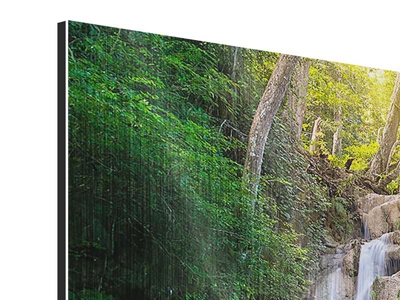 Metallic-Bild 4-teilig Terrasse am Wasserfall