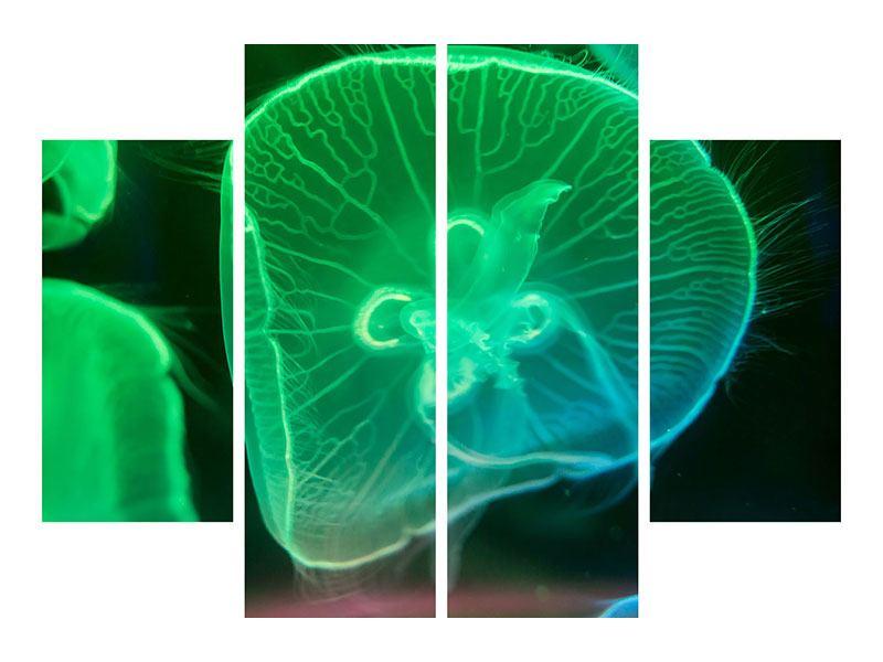 Metallic-Bild 4-teilig Quallen im Licht
