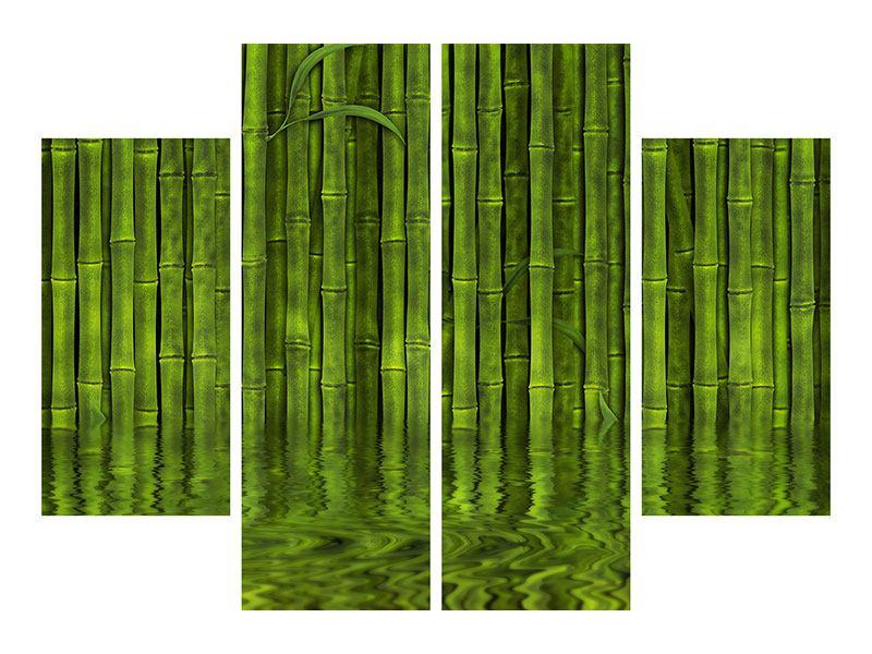 Metallic-Bild 4-teilig Wasserspiegelung Bambus