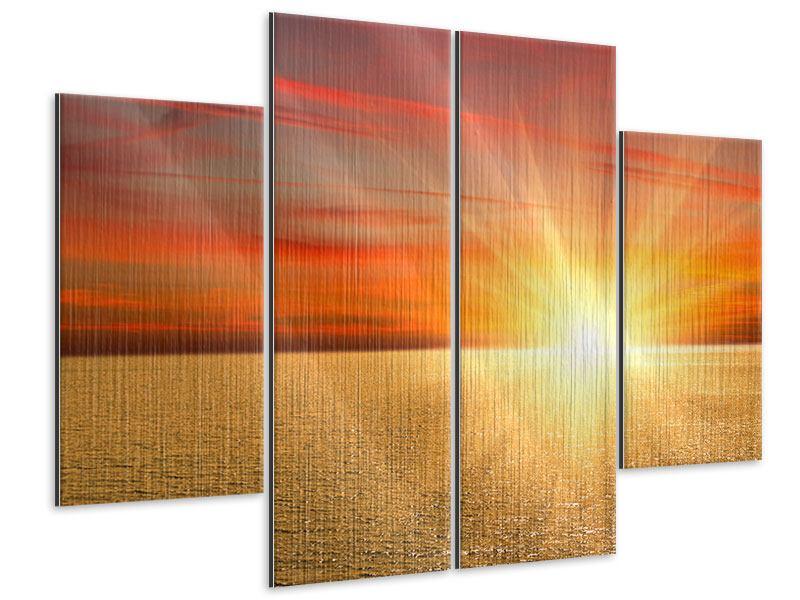 Metallic-Bild 4-teilig Der Sonnenuntergang