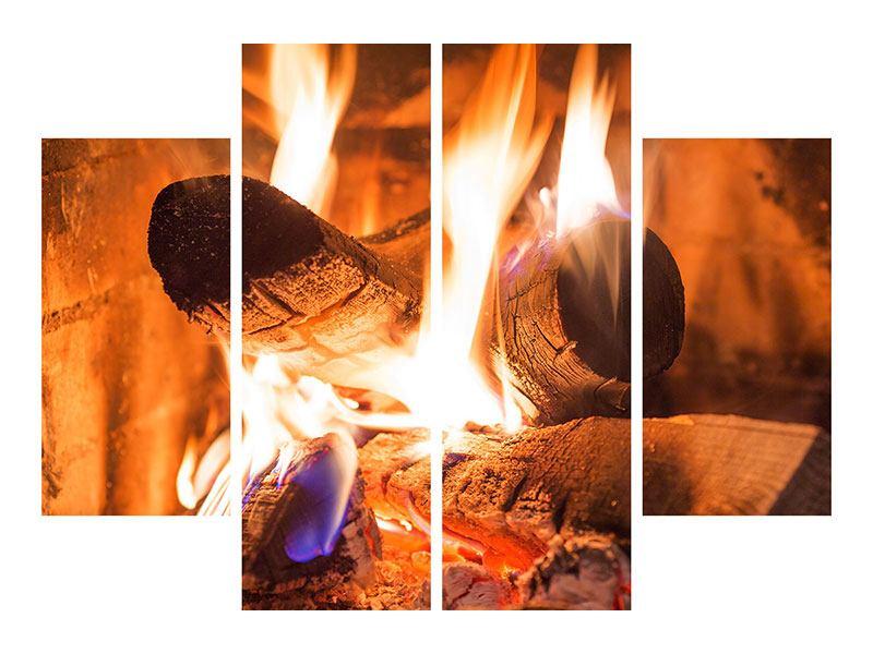 Metallic-Bild 4-teilig Kaminfeuer
