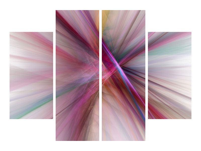 Metallic-Bild 4-teilig Abstraktes Lichterleuchten