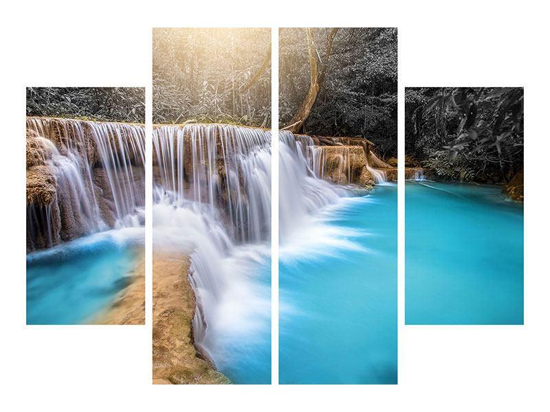 Metallic-Bild 4-teilig Glücklicher Wasserfall