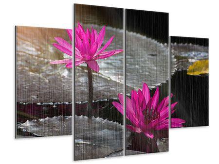 Metallic-Bild 4-teilig Seerosen im Morgentau