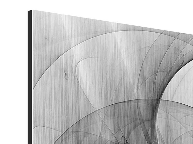 Metallic-Bild 4-teilig Abstrakte Kreisende Kreise
