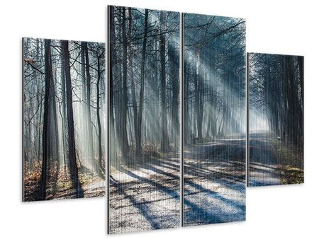 Metallic-Bild 4-teilig Wald im Lichtstrahl