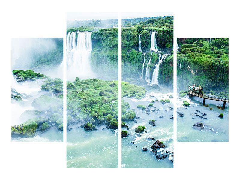 Metallic-Bild 4-teilig Wasserfälle