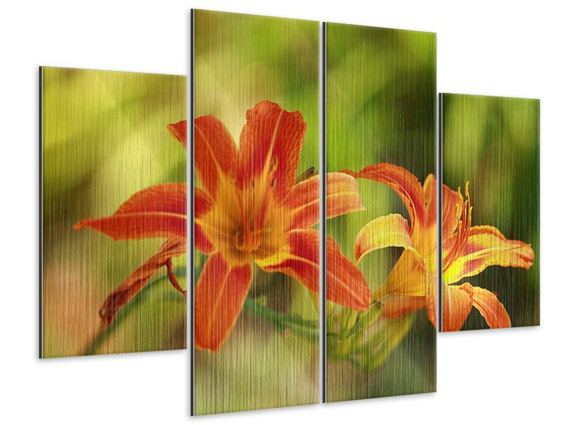 Metallic-Bild 4-teilig Natural Lilien