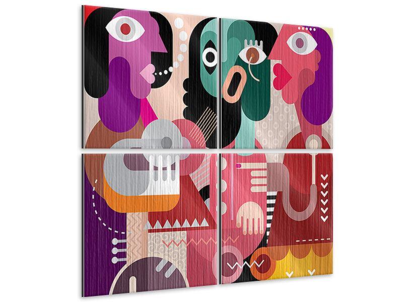 Metallic-Bild 4-teilig Moderne Kunst Frauen