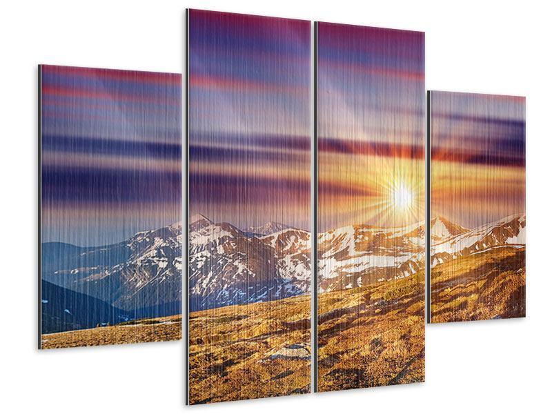 Metallic-Bild 4-teilig Majestätischer Sonnuntergang am Berggipfel
