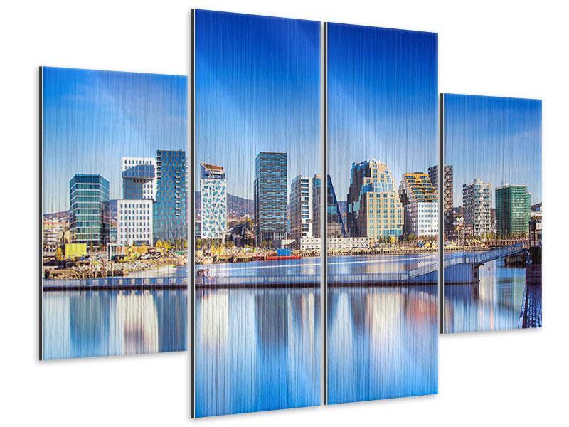 Metallic-Bild 4-teilig Skyline Oslo