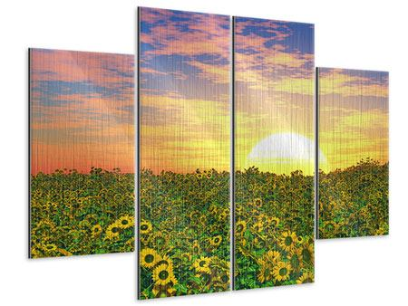 Metallic-Bild 4-teilig Blumenpanorama bei Sonnenuntergang