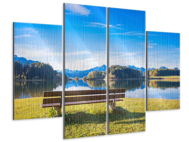 Metallic-Bild 4-teilig Sitzbank mit Bergpanorama