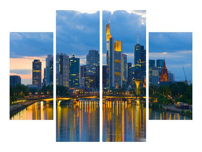 Metallic-Bild 4-teilig Skyline Frankfurt am Main