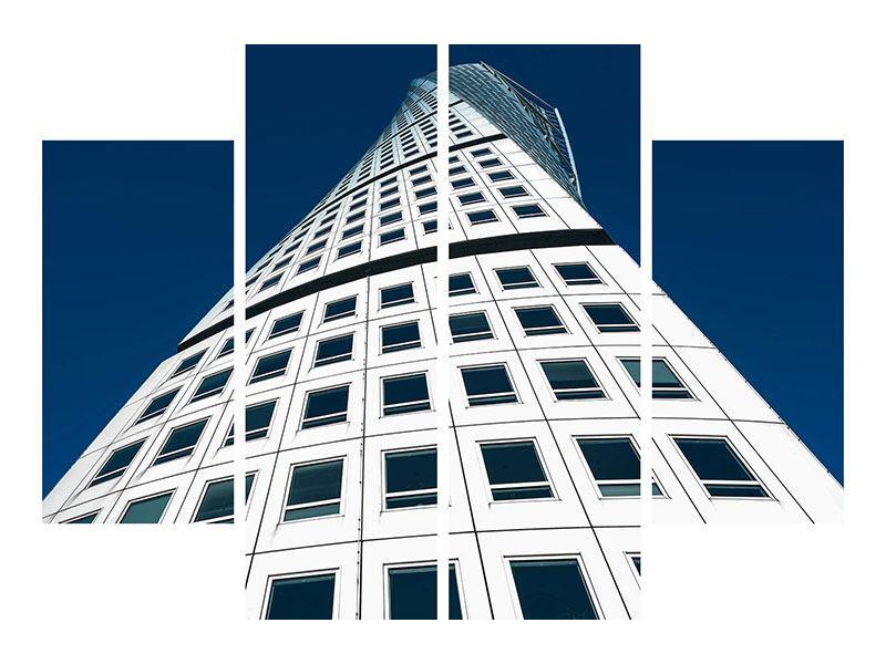 Metallic-Bild 4-teilig Meisterstück Wolkenkratzer