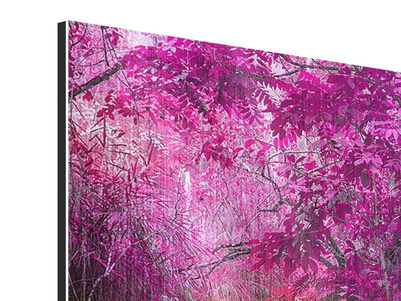 Metallic-Bild 4-teilig Paradiesischer Wasserfall