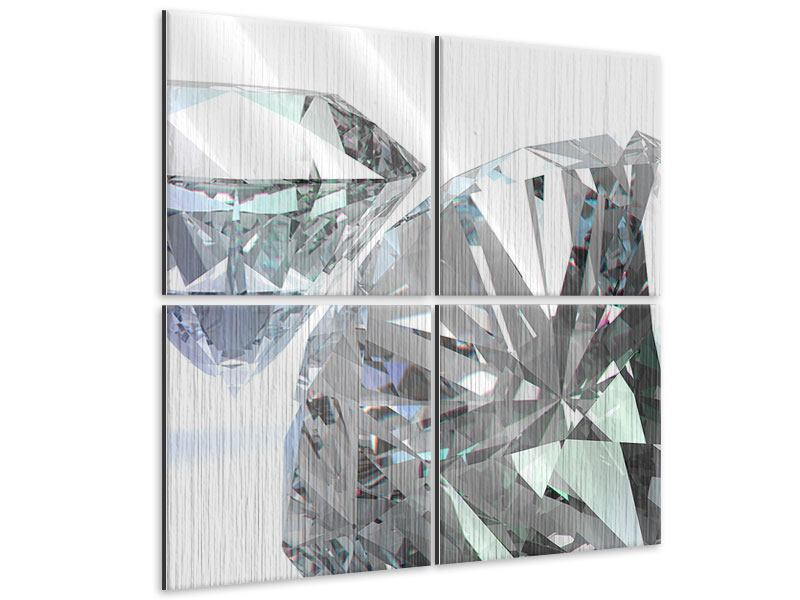 Metallic-Bild 4-teilig XXL Diamant