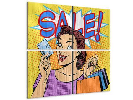 Metallic-Bild 4-teilig Pop Art Sale
