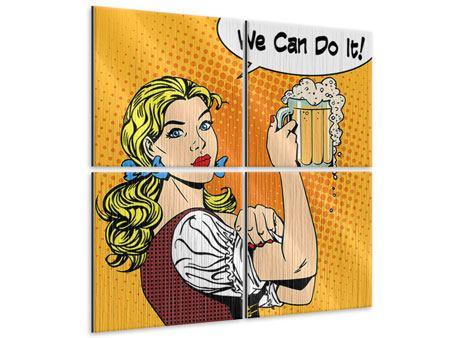 Metallic-Bild 4-teilig We Can Do It