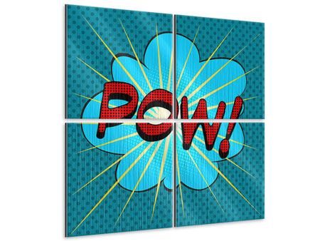 Metallic-Bild 4-teilig Pop Art Pow