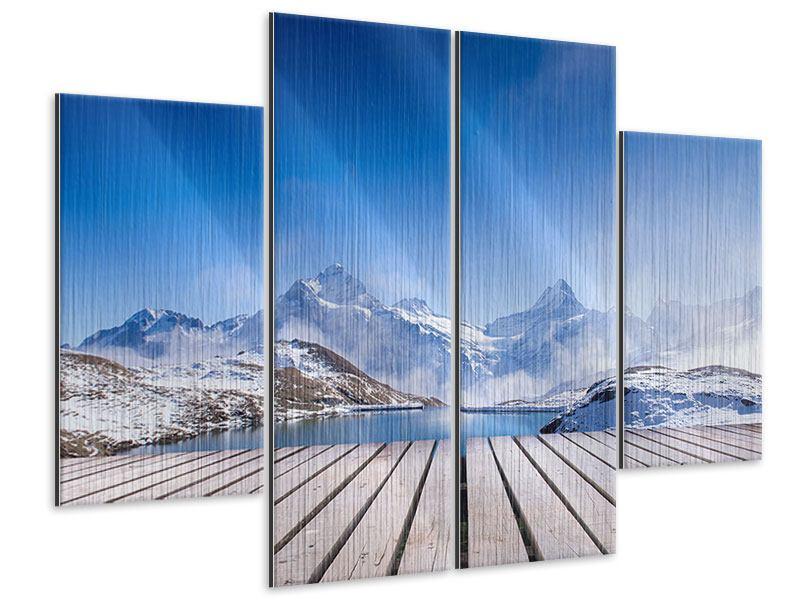 Metallic-Bild 4-teilig Sonnenterrasse am Schweizer Bergsee