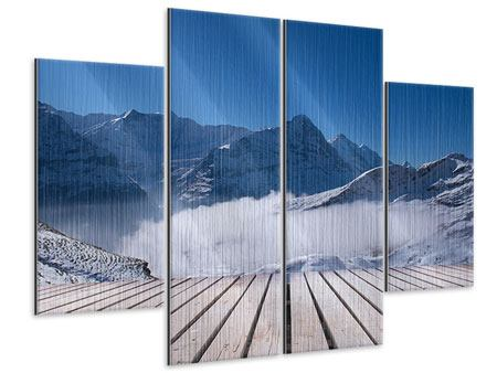 Metallic-Bild 4-teilig Sonnenterrasse in den Schweizer Alpen