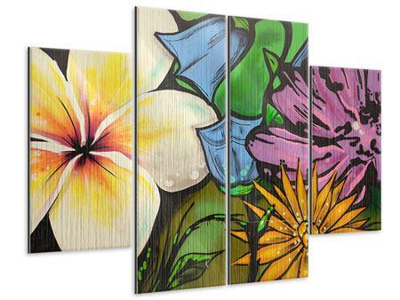 Metallic-Bild 4-teilig Graffiti Flowers