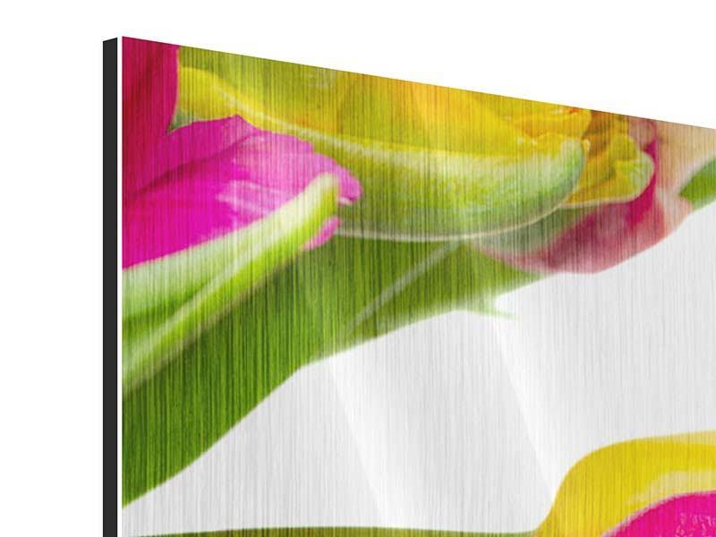 Metallic-Bild 4-teilig Ein bunter Tulpenstrauss