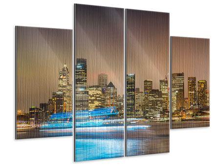 Metallic-Bild 4-teilig Skyline Sydney im Lichtermeer