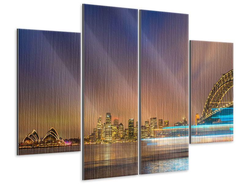 Metallic-Bild 4-teilig Skyline Opera House in Sydney im Abendlicht
