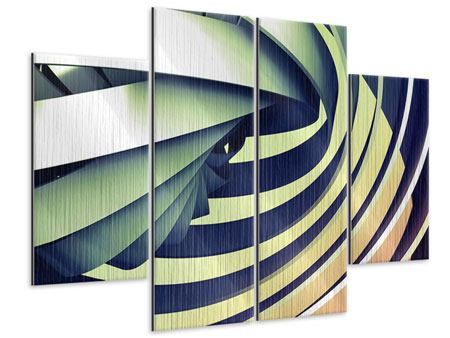 Metallic-Bild 4-teilig Abstrakte Perspektiven