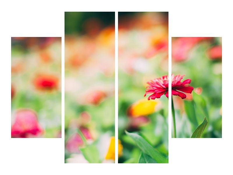 Metallic-Bild 4-teilig Im Blumengarten