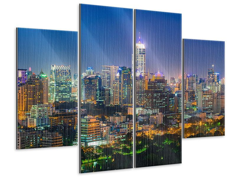 Metallic-Bild 4-teilig Skyline One Night in Bangkok